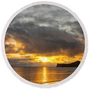 Rabbit Island Sunrise - Oahu Hawaii Round Beach Towel by Brian Harig
