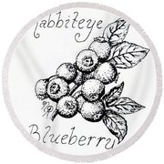 Rabbiteye Blueberry Round Beach Towel