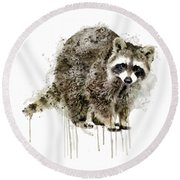 Raccoon Round Beach Towel by Marian Voicu
