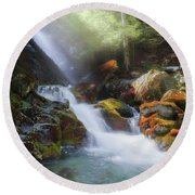 Round Beach Towel featuring the photograph Race Brook Falls 2017 by Bill Wakeley
