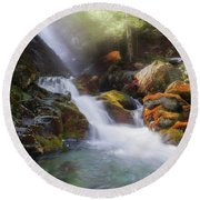 Round Beach Towel featuring the photograph Race Brook Falls 2017 Square by Bill Wakeley