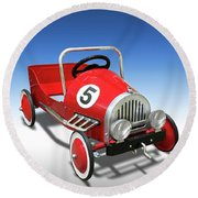 Round Beach Towel featuring the photograph Race Car Peddle Car by Mike McGlothlen