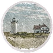 Race Point Lighthouse Round Beach Towel by Paul Miller