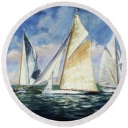 Race - Sails 11 Round Beach Towel