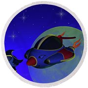 Race Thru Space Round Beach Towel