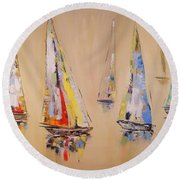 Race To Mackinac Round Beach Towel
