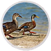 Round Beach Towel featuring the photograph Race You To The Water by Carolyn Marshall