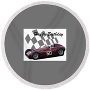 Round Beach Towel featuring the photograph Racing Car Birthday Card 1 by John Colley