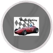 Round Beach Towel featuring the photograph Racing Car Birthday Card 2 by John Colley