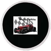 Round Beach Towel featuring the photograph Racing Car Birthday Card 3 by John Colley