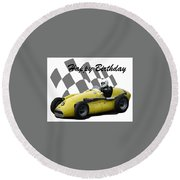 Round Beach Towel featuring the photograph Racing Car Birthday Card 4 by John Colley