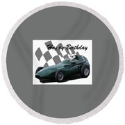 Round Beach Towel featuring the photograph Racing Car Birthday Card 5 by John Colley