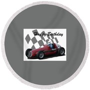 Round Beach Towel featuring the photograph Racing Car Birthday Card 6 by John Colley