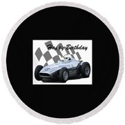 Round Beach Towel featuring the photograph Racing Car Birthday Card 7 by John Colley