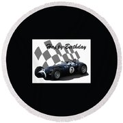 Round Beach Towel featuring the photograph Racing Car Birthday Card 8 by John Colley