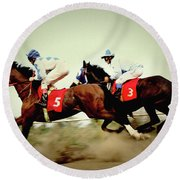 Racing Horses Neck To Neck In Competition Round Beach Towel