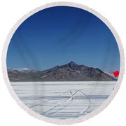 Racing On The Bonneville Salt Flats Round Beach Towel