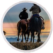 Racing To The Sun Wild West Photography Art By Kaylyn Franks Round Beach Towel