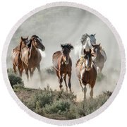 Racing To The Water Hole Round Beach Towel