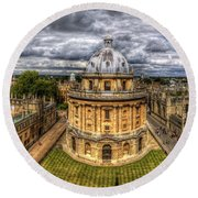 Radcliffe Camera Panorama Round Beach Towel by Yhun Suarez
