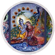 Radha Krishna Cosmic Leela Round Beach Towel