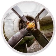 Round Beach Towel featuring the photograph Radial Engine And Prop - Fairchild C-119 Flying Boxcar by Gary Heller