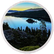 Radiant Sunrise On Emerald Bay Round Beach Towel