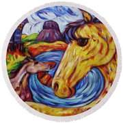 Round Beach Towel featuring the painting Radiant Sunshine Horse By The Sea by Dianne  Connolly