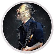 Radiohead - Thom Yorke Round Beach Towel by Semih Yurdabak