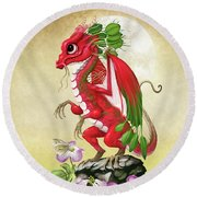 Radish Dragon Round Beach Towel by Stanley Morrison
