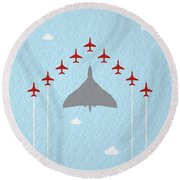 Raf Red Arrows In Formation With Vulcan Bomber Round Beach Towel