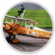 Raf Scampton 2017 - Breitling Wingwalkers At Rest Round Beach Towel