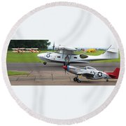 Raf Scampton 2017 - P-51 Mustang With Pby-5a Landing Round Beach Towel