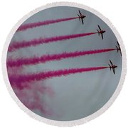 Raf Scampton 2017 - Red Arrows Enid Formation Round Beach Towel