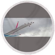 Raf Scampton 2017 - Red Arrows Tornado Formation Round Beach Towel