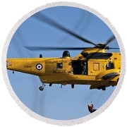 Raf Sea King Search And Rescue Helicopter 2 Round Beach Towel by Steve Purnell