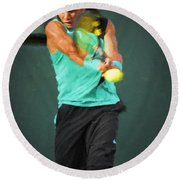 Round Beach Towel featuring the painting Rafael Nadal by Lou Novick