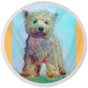 Ragamuffin Pup Round Beach Towel