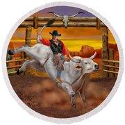 Ride 'em Cowboy Round Beach Towel