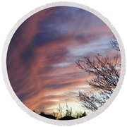 Round Beach Towel featuring the photograph Raging Sky by Barbara Griffin