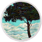 Raging Sky Po-e-tree Round Beach Towel