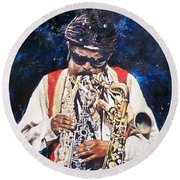 Round Beach Towel featuring the painting Rahsaan Roland Kirk- Jazz by Sigrid Tune