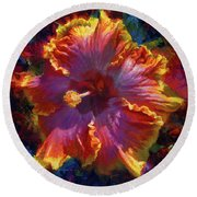 Rainbow Hibiscus Tropical Flower Wall Art Botanical Oil Painting Radiance  Round Beach Towel