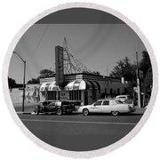 Round Beach Towel featuring the photograph Raifords Disco Memphis A Bw by Mark Czerniec