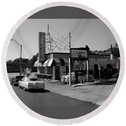 Round Beach Towel featuring the photograph Raifords Disco Memphis B Bw by Mark Czerniec