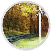 Rail Road Crossing To Neverland Round Beach Towel