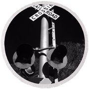 Rail Sign Black And White Round Beach Towel
