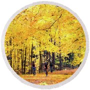 Autumn Glory On The Rail Trail Round Beach Towel