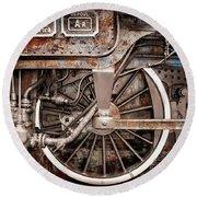 Rail Wheel Grunge Detail,  Steam Locomotive 06 Round Beach Towel