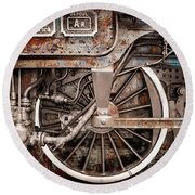 Rail Wheel Grunge Detail,  Steam Locomotive 06 Round Beach Towel